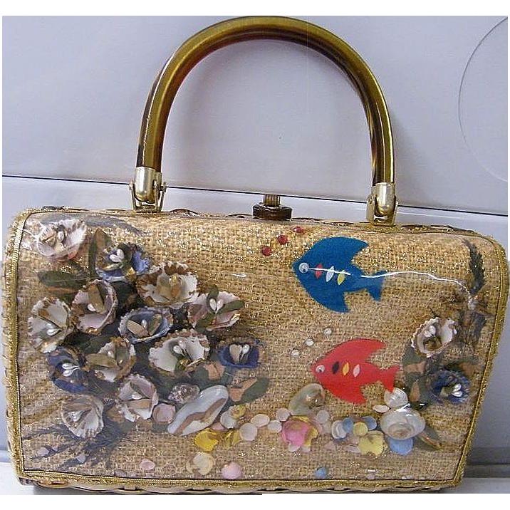 Atlas Princess Charming Straw / Rattan Box Handbag With Shells & Felt Fish & Plastic Window....Hong Kong