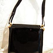 Black Patent Handbag...Elongated Envelope Style..Stuart Weitzman..Very Good Condition!