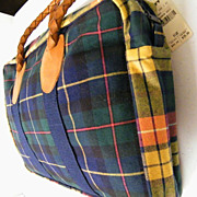 Clan Plaid Collage Handbag Briefcase Doctor Bag Leather Handles..By Nordic House Designs..New