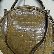 Vintage Large Round Light Brown Croc Embossed Vinyl..By CB Brasilia..Convertible Straps