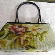 SALE PENDING Koret Tapestry Floral Kelly Bag Red Leather Lined Made In Italy Plastic Handle &