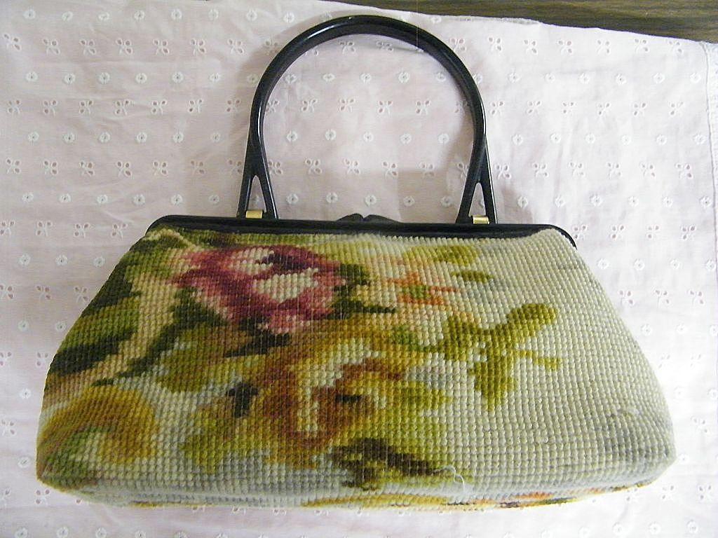 Koret Tapestry Floral Kelly Bag Red Leather Lined Made In Italy Plastic Handle & Frame..Excellent Condition!