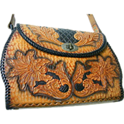 Designer Quality Tooled Leather Handbag..Floral / Leaves..Black Ground..Brown Design..Mid Cent