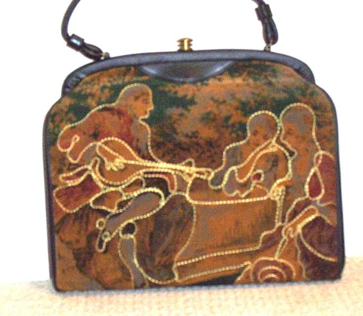 Velveteen Print Handbag With  Outline Stitched Of Colonel Couple