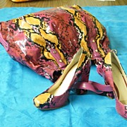 Brightly Colored Simulated Snake Skin Matching Handbag & Shoes..Fushia/Gold/Black