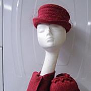 3 Piece Hat Set: Fedora..Scarf..Muff...Raspberry Wool Tweed..By Annette Samis Millinery..Excel