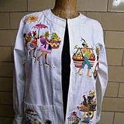 Bob Mackie Wearable Art Jacket..Cotton Twill..Island Theme Embroidery..Size M..