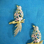 Vintage Twin Bird Of Paradise Scatter Pins..Pink & Blue Pearlized Enamel Flowers & Clear Rhinestones..Mint Condition