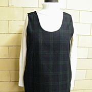 Black Watch Plaid Wool Jumper..Straight Cut..New Condition..Small
