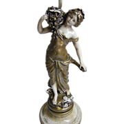 Lamp Figurine.. By L&F Moreau Studio..Hand Painted..Girl..Spelter..Mid- Century..Excellent