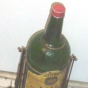 Vintage...J&B Giant Glass Scotch Whiskey Bottle.. BAR Display Bottle With Wrought Iron Stand .