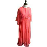 Coral Chiffon Lounge Or Evening Dress / Gown..1960's..Empire Waist..Kimono Sleeves..Size 8