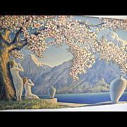 "Love Echos..Art Deco Lithograph By Henri G Reynard..Original Wood Frame..21"" X 13"""