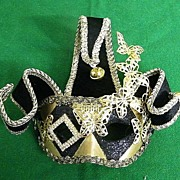 Mask..Court Jester...Black Velvet..Sparkles..Bells..Jewelry..Sophicated!!