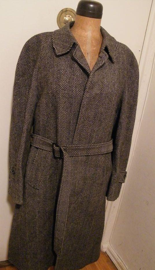Vintage...Mens Black/Gray Herringbone Wool Coat With Belt..Pure Wool..Made In England