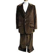 Men's MOD 3 Piece Brown Velveteen Suit..1970
