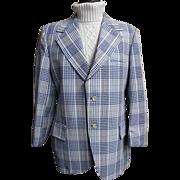 SALE Men's  Blue & White Cotton Seersucker Plaid Sports Coat Jacket...Lancashire..1960's .