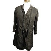 SALE Men's Edwardian Coat..Black Silk ..Passementerie Trim..Front Sash..Antique