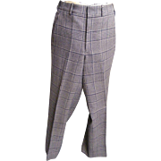 Men's Plaid Golf Slacks..Brown / Beige Wool From 1960's