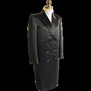 SALE Men's Black Satin Long Opera Coat...Tuxedo Coat...Double Breasted...By G&G Quality Clothi