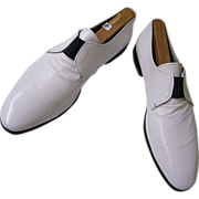 Men's 1970's Prada Shoes..White Leather Slip-Ons..Size 10 / 10 1/2..Excellent Condition