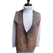 Men's Raw Silk Vest Screen Printed Accent...Rust..By Forum..Size Large..Excellent Condition