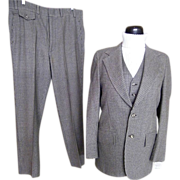 Men's 3 Piece Suit..Small Check..Gray/Brown/Beige..Barney's Madison Room..Stanley Blacker..1960's..Excellent Condition