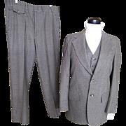 SALE Men's 3 Piece Suit..Small Check..Gray/Brown/Beige..Barney's Madison Room..Stanley Blacker