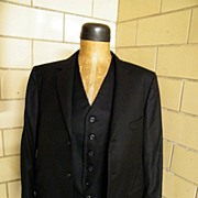 SALE 1971 Bespoke Black Wool Jacket & Vest Set..Otto Perl Custom Taylored..NYC..New Condition
