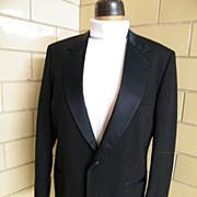SALE Men's Tuxedo Jacket..Black Wool Sharks Skin..Notched Satin Collar..Size 42L.Excellent Con