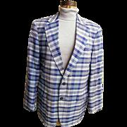 SALE Men's Blue Madras Plaid Sports Jacket / Coat..Brooks Brothers...1970..Size 42L..Excellent