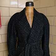 SALE Men's Long Belted Coat..Black Wool Ground With Silver Tweed..By Falcone..Size 38