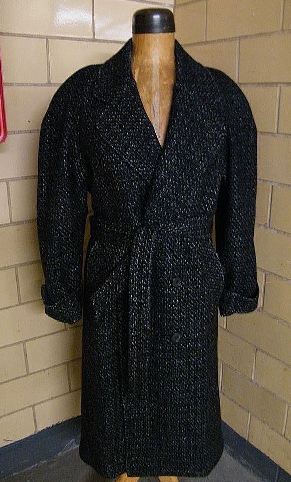 Men's Long Belted Coat..Black Wool Ground With Silver Tweed..By Falcone..Size 38