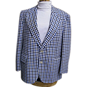 SALE Men's Navy/Blue/White Seersucker Sports Jacket By Palm Beach..1960's..Arnel/Cotton Blend.