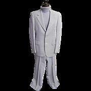 Men's Seersucker Suit..Brown / White Stripe..Arnell / Cotton Blend..1960's - 1970's