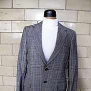 SALE Mod Wool Glen Plaid Suit in Black, Brown, & White..Made In USA..
