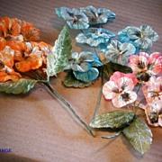 Vintage Japan Pansy Spray Velvet Floral Spray