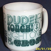 Dude...Milk Glass D Handled Mug