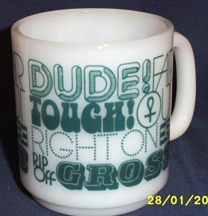 Dude...Milk Glass D Handled Mug