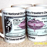 SALE First National City Travelers Checks Mug Set [4]