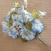 Very Vintage..Shaded Blue Velvet  Nasturtium Spray..Long Stemmed..Japan