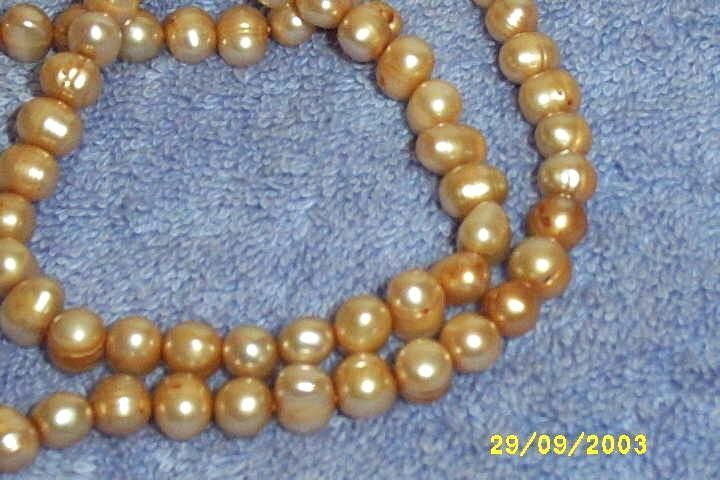Hand Knotted Dusty Peach/Pink  Fresh Water Pearl Necklace Rice Shaped