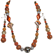 ORANGE SPICE..Necklace & Drop Earring Set..Bead Assortment of Glass..Metal..Pottery..Enamel..&