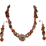 INDIAN SPICE..Necklace & Drop Earring Set..Mix Of Carnelian..Enamel..Glass..Faux Pearl..Rhines