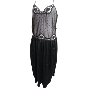 Cine Star Black Nylon Nightgown With Lace & Polka Dot Net Bodice..Satiney Black Tricot Gathere