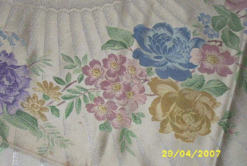 Vintage..Old Bleach..SWANSEA Hand-Painted Double Damask Tablecloth / Napkin [8]  Set