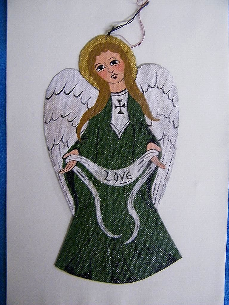"Hand Painted On Canvas Celtic Medieval Irish Angel Ornament..7""x3.5"""