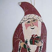 "Medieval SANTA..Hand-Painted On Canvas..Ornament..Signed 7""x4"""