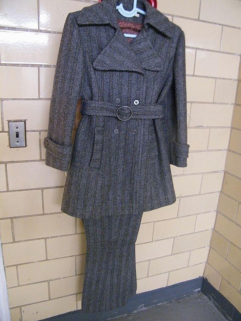MOD..1960's Pants Suit..Carneby Street Style..Wool Herringbone..By American Bazaar..Excellent Condition!