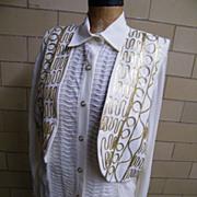SALE 3 Piece Pantsuit..Harem Pants..Long Over-Blouse..Vest..Gold Passementery Trim..Size L ...